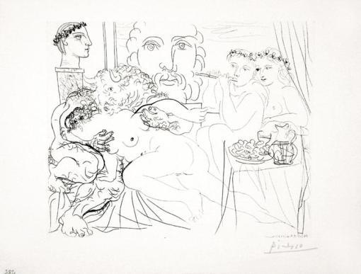 Autoportrait Trois Formes - Peintre couronné, Sculpteur en Buste et Minotaure amoureux 1933
