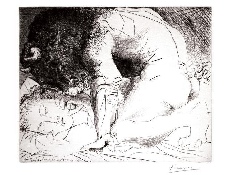 Minotaure caressant du Mufle la Main d'une Dormeuse, 1933