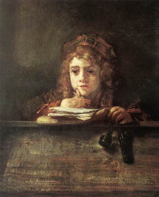 Rembrandt van Rijn - Titus sentado à secretária, 1655