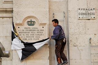 Em 2006, foi inaugurada uma placa alusiva ao regic�dio no Terreiro do Paço