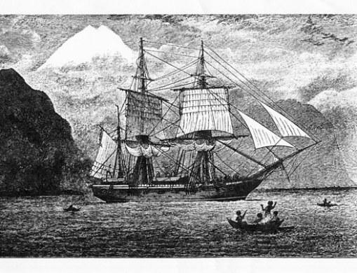 HMS Beagle in the Strait of Magellan