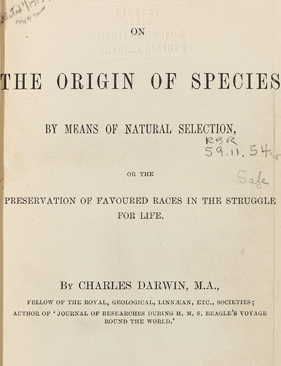 An original manuscript page (title page of a published copy shown here) from Charles Darwin's The Origin of Species.