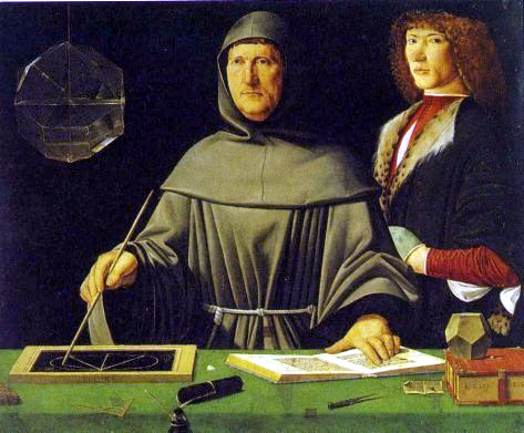 Portrait of Fra Luca Pacioli and his student, (?)Guidobaldo da Montefeltro, Duke of Urbino is in the Museo di Capodimonte in Naples - 1495