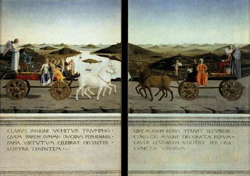 PIERO della FRANCESCA - Portraits of Federico da Montefeltro and His Wife Battista Sforza (reverse sides), 1465-66