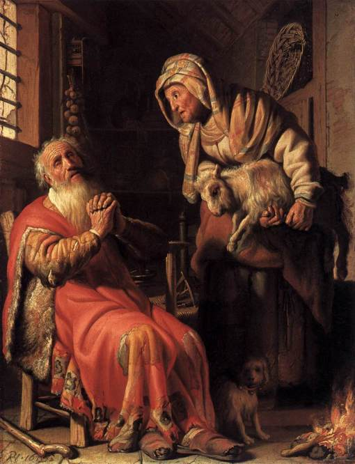 Rembrandt - Tobit Accusing Anna of Stealing the Kid, 1626